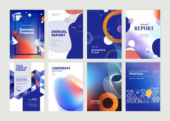 Wall Mural - Set of brochure, annual report, flyer design templates in A4 size. Vector illustrations for business presentation, business paper, corporate document cover and layout template designs.