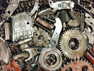 koła zębate silnika jako abstrakcyjne tło przemysłowe lub maszynowe, zestaw narzędzi