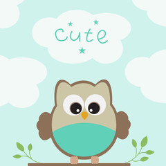 Vector greeting card on the theme of birds and nature.