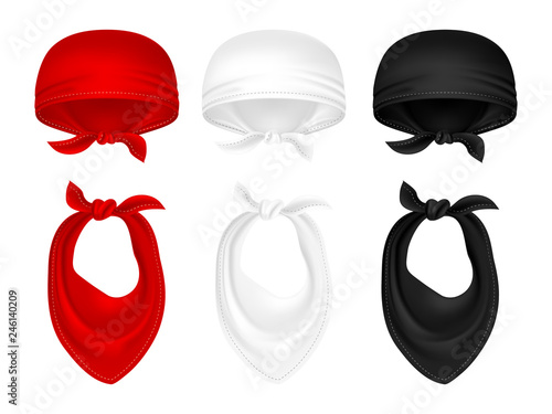 Vector set of bandanas and neck scarves red and black