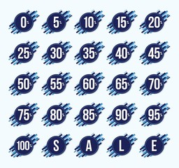 Zero to One hundred percent, Blue sign for sale graphic vector