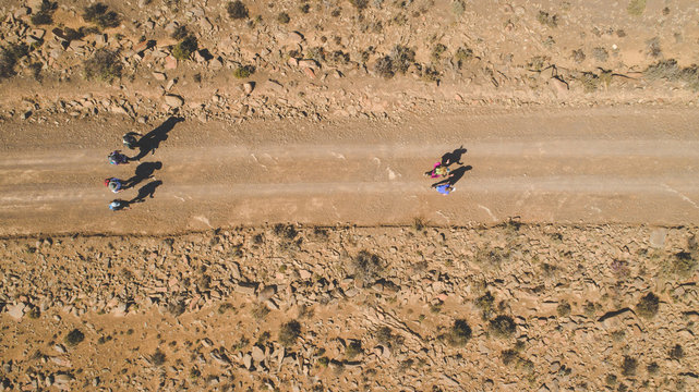 Aerial image of a group of hikers doing a hiking train in the karoo region of south africa