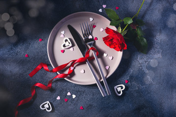Saint Valentine Dinner concept with rose and heart love symbols, romantic dinner invitation