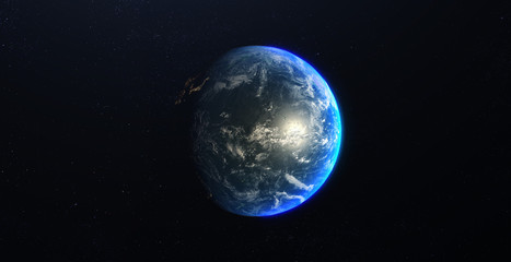 Planet Earth view from Space in a star field. Showing the terrain and clouds. Based on NASA data.