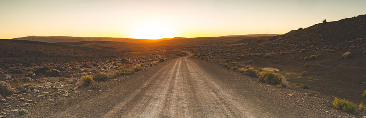 Iconic scenes from the karoo region in South Africa, gravel roads and semi desert conditions