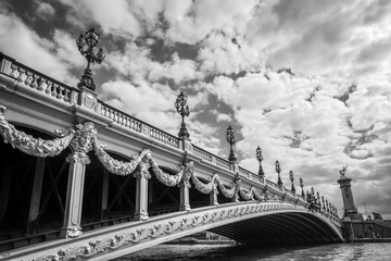 Wall Mural - Alexandre III bridge and the river Seine in Paris France, black and white photography