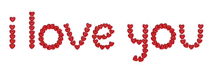 text i love you, made from decorative red hearts. Isolated on white background