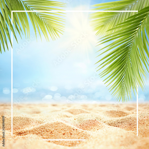 "Sand Beach In Summer Sky Background: ""Summer Background With Frame, Nature Of Tropical Golden"