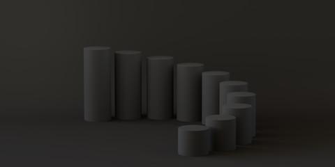 Empty steps cylinder on black background. 3D rendering.
