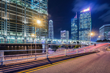 View of the evening city streets in Central district. Hong Kong