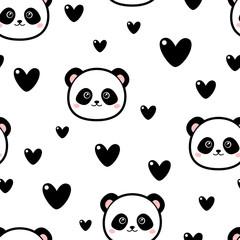 Cute panda pattern with hearts