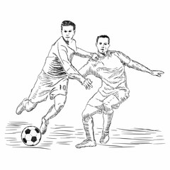 hand drawn illustration of soccer player. soccer vector illustration - Vector