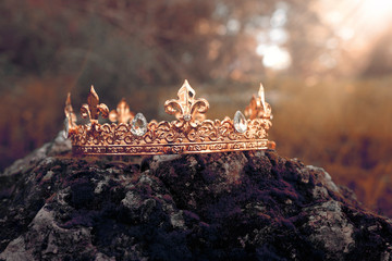 mysterious and magical photo of gold king crown over the stone covered with moss in the England woods or field landscape with light flare. Medieval period concept. Toned and filtered. Wall mural