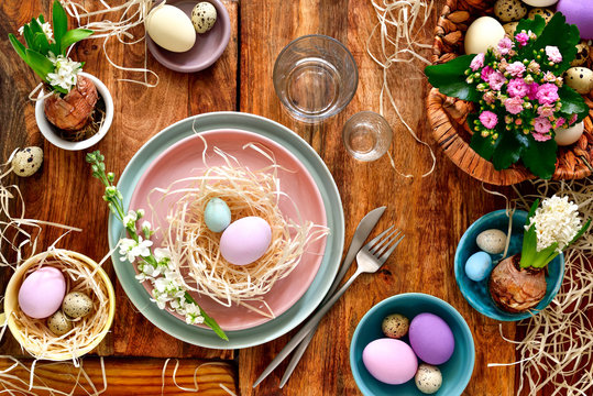 Easter table setting, view from above