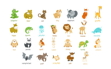 Cute animal icons vector set