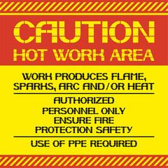 Caution. Hot work area. A warning poster about certain dangerous jobs in a given territory.