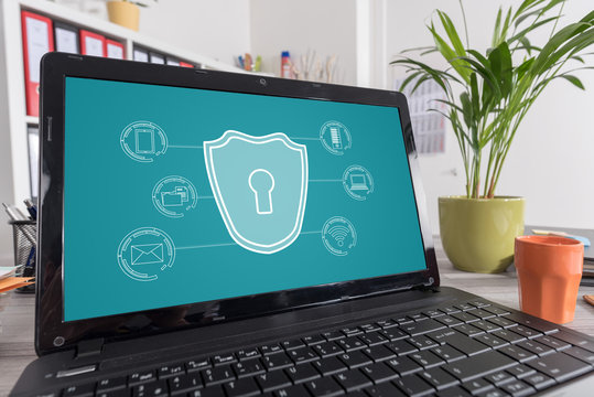 Cyber security concept on a laptop