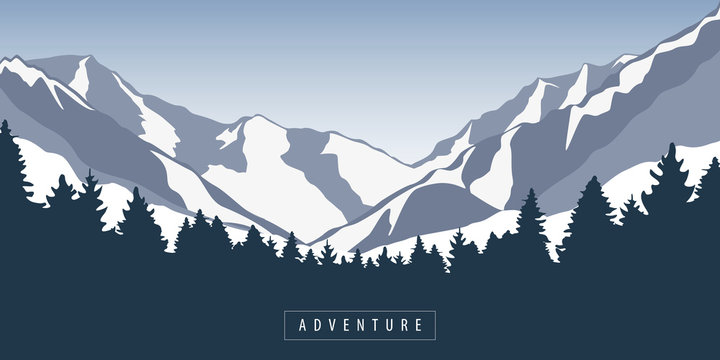 adventure in snowy mountain and forest nature landscape vector illustration EPS10