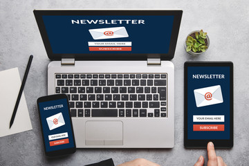 Subscribe newsletter concept on laptop, tablet and smartphone screen