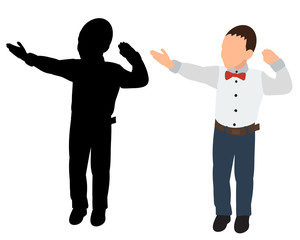 vector, isolated, child silhouette, boy, flat style