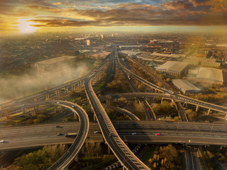 Birmingham UK Spaghetti Junction aerial with city centre background Fototapete