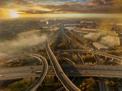 Birmingham UK Spaghetti Junction aerial with city centre background