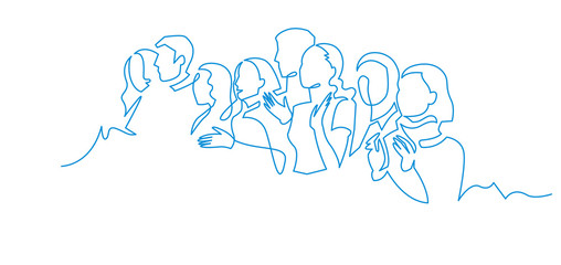 Group of people continuous one line vector drawing.