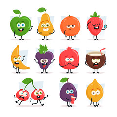 Funny Cartoon Characters. Fruits and Berries. Vector Set