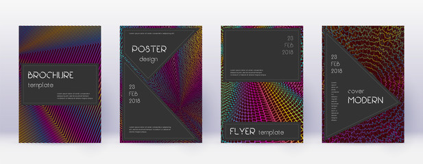 Black brochure design template set. Rainbow abstra