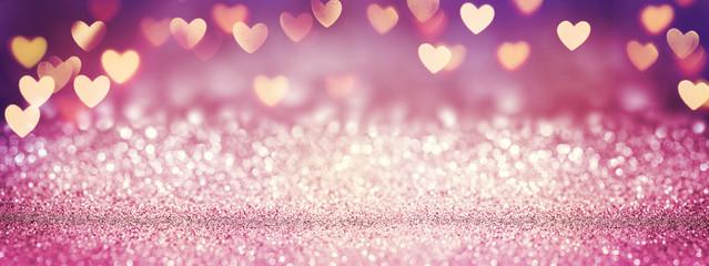 Obraz Pink Glitter In Shiny Background - Valentine's Day Concept - fototapety do salonu