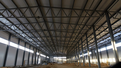 Industrial construction of a new plant .steel metal.