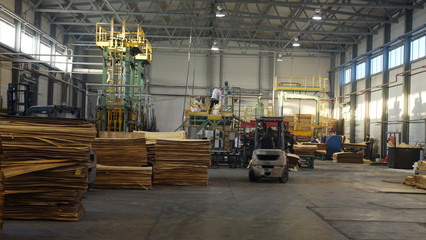 Shop for the production of plywood. Processing of business wood. Woodworking industry. Wall mural