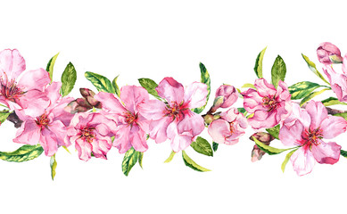 Apple, cherry pink flowers. Seamless floral stripe frame. Horizontal watercolour painted border