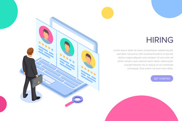 Isometric hiring, recruitment concept. Job interview, search human resource, find talent employee. 3d computer with resume. Hr manager. Vector cartoon design. Web site page concept.