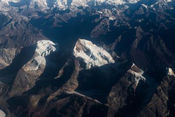 Close-up view of snowy peaks at Himalayan range.
