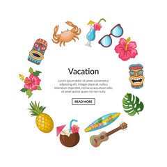Vector cartoon summer travel elements in circle shape with place for text illustration isolated on white background
