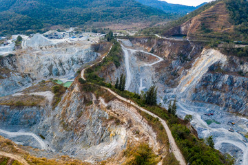 Aerial view of large quarries for construction and industry.