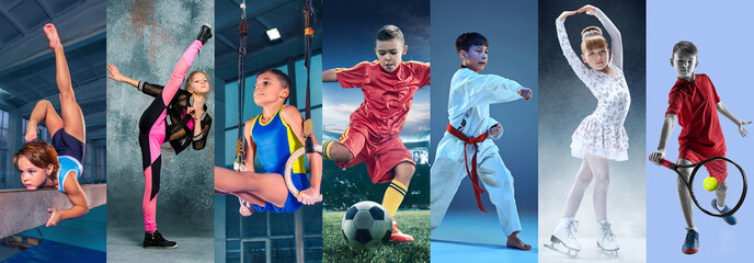 Sport collage about teen or child athletes or players. The soccer football, figure skating, tennis, karate martial arts, rhythmic gymnastics. Little boys and girls in action or motion