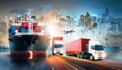Global business logistics import export background and container cargo freight ship transport concept Wall mural