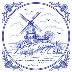 Landscape with a windmill and a boat in blue colors in a patterned frame, Delft style decor, Gzhel painting, Chinese porcelain, vector illustration, decor for various designs.