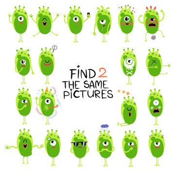 Funny little aliens illustration. Find two same pictures. Educational matching game for children. Cartoon illustration