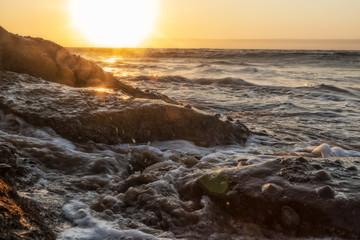 Rocks along the coast with bivalves and marine life. Namibe. Africa. Angola