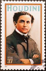 Illusionist Houdini on american postage stamp