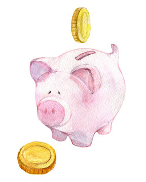 Piggy bank with coins isolated on white background, watercolor illustration