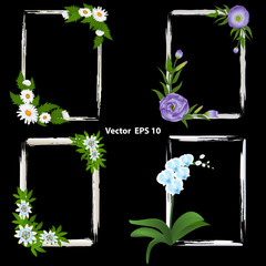 A set of frames for photos. decorated with flowers - orchid, Passiflora, Eustoma and Chamomile