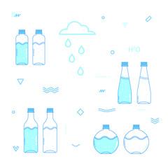 Health bottle water. Flat style