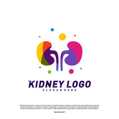 Colorful Kidney Logo Design Concept. Urology Logo Vector Template