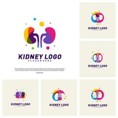 Set of Colorful Kidney Logo Design Concept. Urology Logo Vector Template