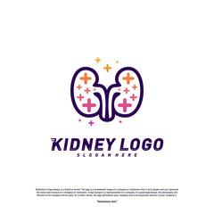 Kidney with Plus Health Logo Design Concept. Urology Logo Vector Template