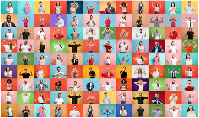 The collage of faces of surprised people on colored backgrounds. Happy men and women smiling. Human emotions, facial expression concept. collage of different human facial expressions, emotions Wall mural